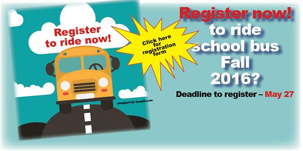Register before May 27 to ride bus 2016-17