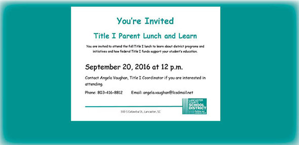 You're invited to Title 1 Lunch & Learn