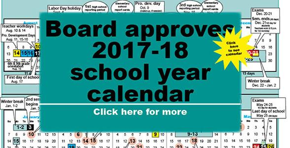 2017-18 calendar begins Aug. 17, ends May 25