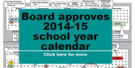 Board approves 2014-15 school year calendar