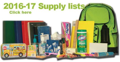 2016-17 School Supply lists online, in stores