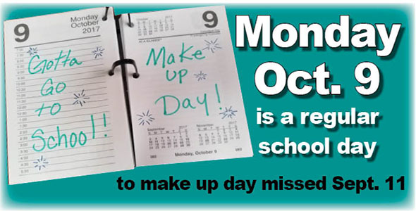 Oct. 9 is first make-up day in school calendar