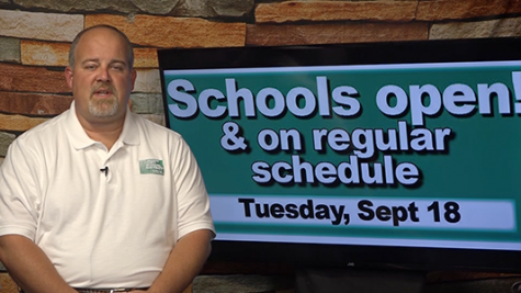 "Click to watch – ""Schools open Tuesday, Sept. 18 – regular schedule"""
