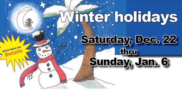 Schools reopen Monday, Jan. 7