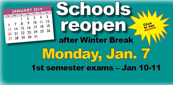 Second semester begins Monday, Jan. 14