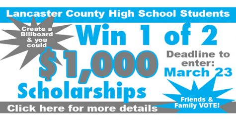 Create a billboard to win one of 2 – $1,000 scholarships