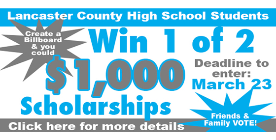 Create a billboard to win one of 2 - $1,000 scholarships