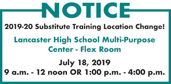 Substitute training location change
