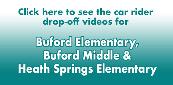 Buford Elementary & Middle, Heath Springs Elementary car rider drop-off videos for Monday, Aug. 19