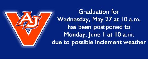 AJ graduation moved to Monday, June 1