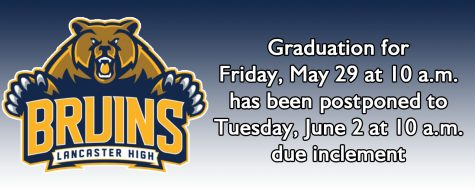 Lancaster High Graduation postponed until Tuesday, June 2