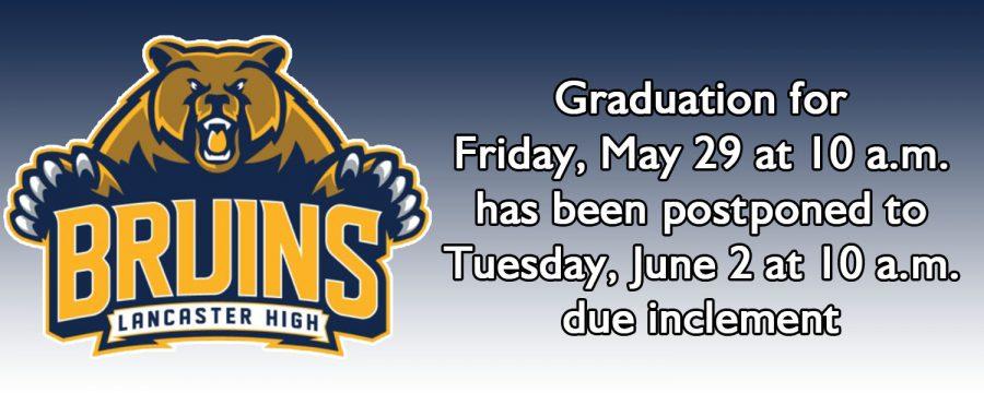 Lancaster+High+Graduation+postponed+until+Tuesday%2C+June+2