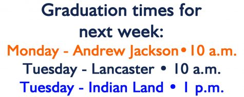 Graduation times for June 1 & June 2